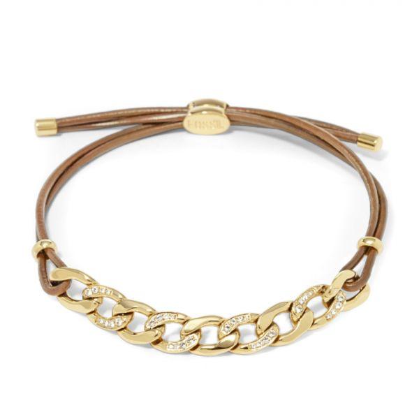 Damen Armband JF01483710 Leder Gelbgold plattiert